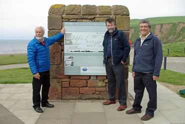 The information board at St Bees is unveiled by Society Chairman, Eric Robson