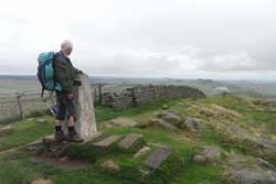 Ron on Winshields Crag - the highest point on both the Hadrian's Wall Path and on his walk